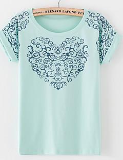 De las mujeres Vintage / Simple / Boho Noche / Casual/Diario / Playa Primavera / Verano Camiseta,Escote Redondo Floral Manga Corta