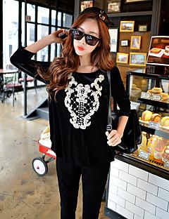 Damen Pullover Lässig/Alltäglich Sport Ausgehen Aktiv Street Schick Punk & Gothic Solide Stickerei Perlenbesetzt Rundhalsausschnitt