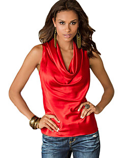 Women's Casual/Daily Street chic Summer Tank Top,Solid Cowl Sleeveless Red / Yellow Cotton Opaque