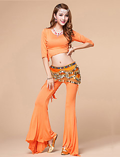 ריקוד בטן תלבושות בגדי ריקוד נשים אימון מודאלי Ruched 2 חלקים חצי שרוול טבעי מכנסיים עליון 54