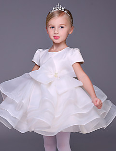 Plesové šaty Krátký / Mini Šaty pro květinovou družičku - Organza Krátký rukáv Klenot s Mašle