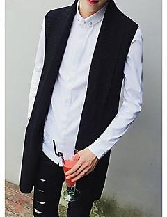 Men's Solid Casual Vest,Cotton Sleeveless Black / Gray