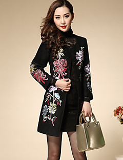 Boutique SWomen's Plus Size / Going out Chinoiserie Coat,Solid / Embroidered Round Neck Long Sleeve