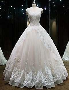 Princess Wedding Dress Floor-length Sweetheart Lace / Tulle with Beading / Lace