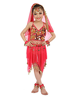 Belly Dance Outfits Children's Performance Chiffon Gold Coins 6Pcs Fuchsia / Light Blue / Purple / Royal Include Anklets
