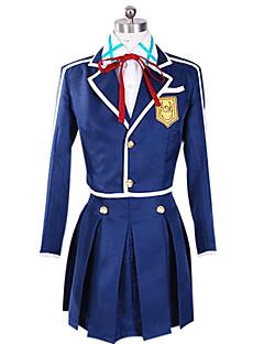 Вдохновлен Sword Art Online Asuna Yuuki Аниме Косплэй костюмы Косплей Костюмы Пэчворк Синий Длинные Пальто / Блузка / Юбки / Значки