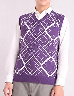 Men's Plaid Casual Vest,Cotton Sleeveless Black / Purple / White / Gray