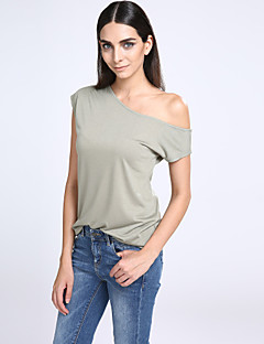 Women's Casual/Daily Simple / Street chic T-shirt,Solid Off Shoulder Short Sleeve White / Black / Green Polyester Thin