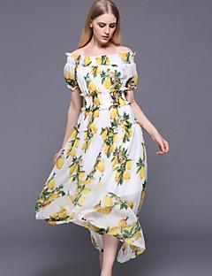 stephanie Frauen gehen den nett lose dressprint-Boot-Ausschnitt Maxi kurze Ärmel weiße Baumwolle / Polyester-Sommer aus