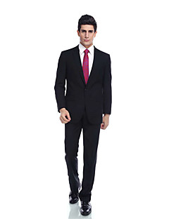 Tuxedos Tailored Fit Notch Single Breasted One-button Rayon(T/R) / Wool & Polyester Blended Solid 2 Pieces Dark Blue