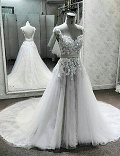A-line Wedding Dress Court Train Queen Anne Lace / Tulle with Appliques / Beading / Lace / Sash / Ribbon / Sequin