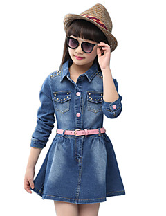 Girl's Cotton Spring/Autumn Fashion Solid Color Rivets Skirt Long Sleeve Denim Dress