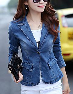 Damen Solide Einfach Lässig/Alltäglich Jeansjacken,Asymmetrisch Herbst Langarm Blau Baumwolle Mittel