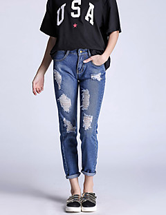 Kvinner Enkel Jeans Bukser Bomull Mikroelastisk