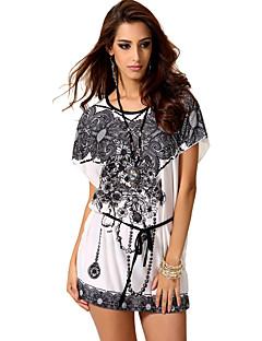 T-shirt Da donna Casual Sensuale Estate,Con stampe Rotonda Nylon Bianco Manica corta Opaco