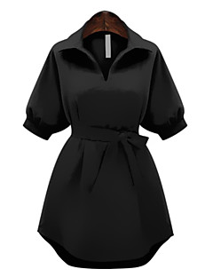 Women's Plus Size Simple Sheath Dress,Solid Shirt Collar Above Knee ½ Length Sleeve Red / Black Polyester Summer
