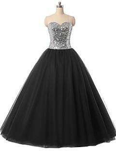 Resmi Akşam Elbise Balo Abiyesi Kalp Yaka Yere Kadar Tül ile Kristal Detaylar / Payetler
