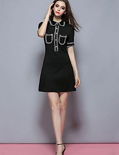 Women's Casual/Daily Cute Sheath DressColor Block Peter Pan Collar Above Knee Short Sleeve Black Polyester Summer