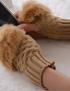 sød plaid mønster kort afsnit varm vinter uld strikket halv finger handsker