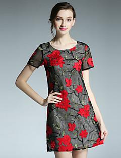 klimeda kvinders afslappet / daglig vintage skift kjole, broderet rund hals over knæet kort ærme polyester sommer