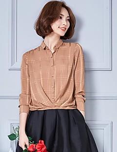 Vrouwen Eenvoudig Herfst / Winter Overhemd,Werk / Grote maten Effen Overhemdkraag Lange mouw Rood / Zwart Rayon Dun