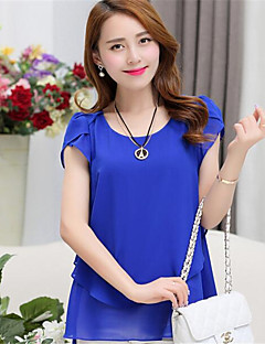 Women's Casual/Daily Simple Summer Blouse,Solid Round Neck Short Sleeve Polyester Medium
