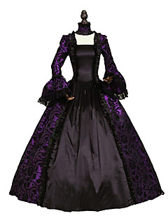 One-Piece Gothic Lolita Steampunk®/Victorian Cosplay Lolita Dress Purple/ Black/Green/Blue Solid Long Sleeve Georgian Period Dress Gown Sexy Witch