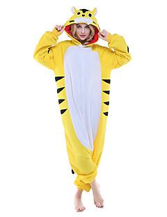 Kigurumi Pyjamas New Cosplay® / Tiger Gymnastikanzug/Einteiler Fest/Feiertage Tiernachtwäsche Halloween Gelb Patchwork Polar-Fleece