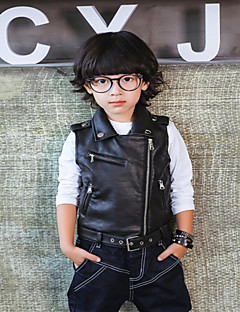 Boy's Casual/Daily Solid Vest,PU / Others Spring / Fall Black