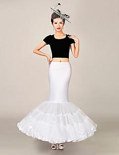 תחתונית  בת ים וסליפ שמלת חצוצרה אורך עד לרצפה 3 רשתות בד טול פוליאסטר לבן