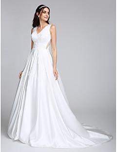 Lanting Bride® A-line Wedding Dress Court Train V-neck Satin with Appliques
