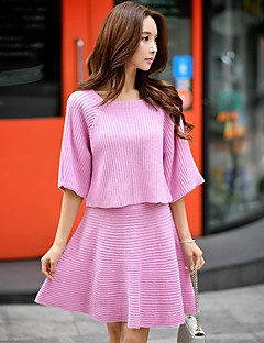 Damen Standard Pullover-Lässig/Alltäglich Urlaub Ausgehen Einfach Niedlich Street Schick Solide Rosa Rundhalsausschnitt ¾-Arm Acryl