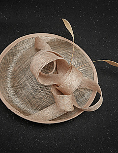 Women's Feather / Flax Headpiece-Wedding / Special Occasion Fascinators 1 Piece Wedding Hat