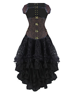 Burvogue Women's Dobby Gothic Steampunk Steel Boned Underbust Corset Dress