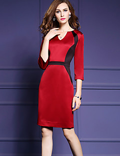 Women's Party/Cocktail / Plus Size Street chic Black and White Dress,Solid Asymmetrical Knee-length ¾ Sleeve Red Polyester Fall Mid Rise