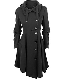 Women's Casual/Daily Simple / Street chic Coat,Solid Shirt Collar Long Sleeve Winter Black Cotton Medium
