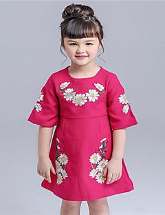 Mädchen Kleid-Lässig/Alltäglich Blumen Baumwolle Frühling / Herbst Rot