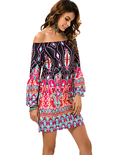 Women's Boat Neck Vintage / Exotic Wind Print Sexy Seaside Beach Dress