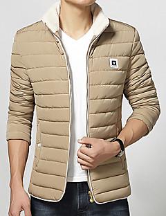 Pánské Bavlna / Polyester / Nylon Jednobarevné Obyčejný S vycpávkou Kabát Dlouhý rukáv