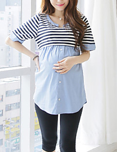 Maternity Casual Pan Color Stripes Stitching Short Sleeve Blouse
