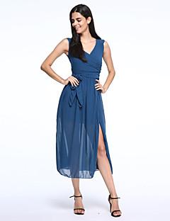 Beach Bodycon Dress,Solid V Neck Maxi Sleeveless Blue / Beige Summer Inelastic Thin