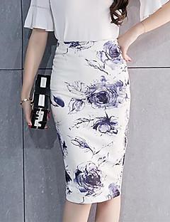 Damen Röcke - Chinoiserie Knielang Baumwolle Mikro-elastisch