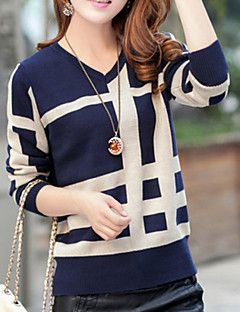 Normal Pullover Søt Dame,Geometrisk Blå Beige Gul Langermet Ull Annet Vår Medium Elastisk
