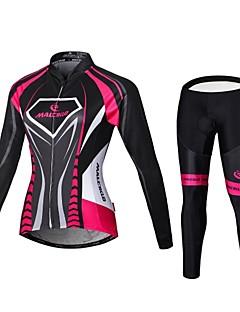 Malciklo חולצה וטייץ לרכיבה לנשים שרוול ארוך אופנייםנושם ייבוש מהיר רוכסן קדמי לביש חדירות גבוהה לאוויר (מעל 15,000 גרם) דחיסה חומרים