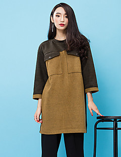 room404 női kiment utca elegáns műszak dresscolor blokk kerek nyakú térd felett hosszú ujjú barna