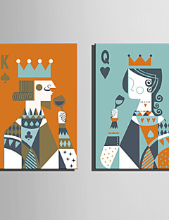 E-HOME® Stretched Canvas Art The King And The Queen Decoration Painting  Set of 2