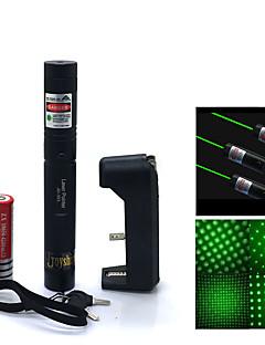 jd303 hög effekt gröna strålen justerbar laserpekare penna (5mW, 532nm, 1x18650 batterie + laddare) svart
