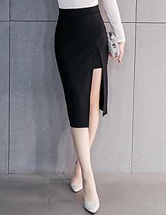 여성의 스트리트 쉬크 스커트 무릎길이 약간의 신축성 면