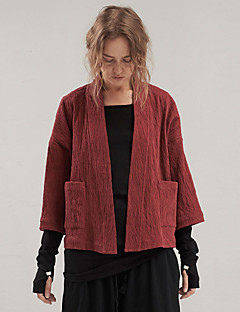 Rizhuo Women's Going out / Casual/Daily Simple JacketsSolid V Neck  Sleeve Spring / Fall Red / Black Medium