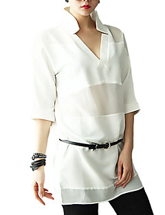 Women's Casual/Daily Street chic / Punk & Gothic All Seasons Blouse,Solid Turtleneck ½ Length Sleeve White / Black Rayon / Polyester Thin